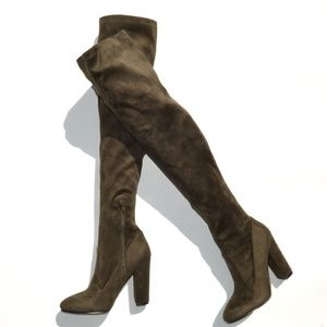Aldo Over The Knee Suede Boots in Khaki Size 7